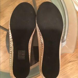 fs/ny Shoes - New fs/ny Snakeskin Embossed Peep Toe Flats